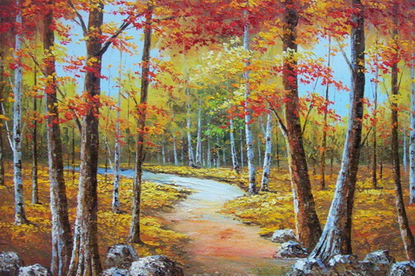 白桦林风景油画 水情缠绕