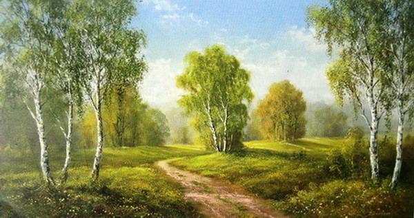 纯手绘油画白桦林